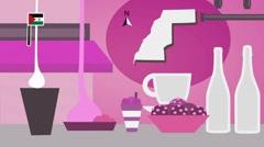 Western Sahara - Vector Menu - Restaurant - Food and Drinks - pink Stock Footage