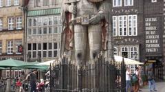4k Famous landmark sculpture Roland tilt up gabled houses Bremen city Stock Footage