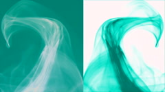 Wave of turquoise smoke on blue and white vertical splited background 6 Stock Footage
