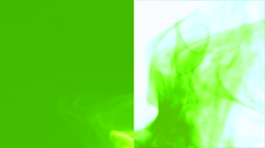Wave of light green smoke on green & white vertical splited background 4 Stock Footage