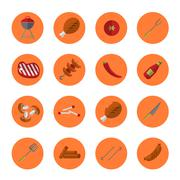 Barbecue grill round icons set Piirros