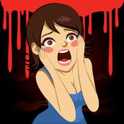 Halloween Screaming Girl Stock Illustration