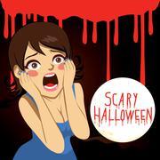 Terrified Halloween Woman Stock Illustration