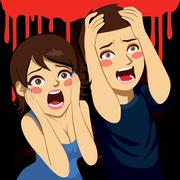 Scared Couple Screaming Stock Illustration