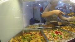 Asian Woman Selling Prepared Street Food on Food Market Stock Footage