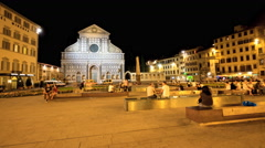 Time-lapse 4k - Night view of Santa Maria Novella church in Florence, Italy Stock Footage