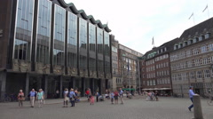 4k Parliament citizenry building at market square of Bremen city Stock Footage