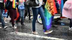 Gay Pride Crowd March Stock Footage