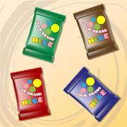 Vector set of colored polyethylene pack for candy Stock Illustration