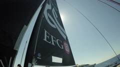 Sails of foiling catamaran GC32 racing during regatta Stock Footage