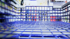 Shopping Cart Rolling Through Store Stock Footage