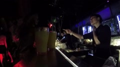 Sexy Girl Order Drinks at Barman in Bar in Night Club Stock Footage