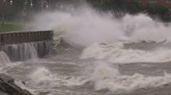 Epic severe waves pound the shore in hurricane and typhoon force wind Stock Footage