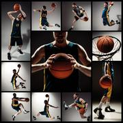 Collage of basketball photos - ball in hands and male player Stock Photos