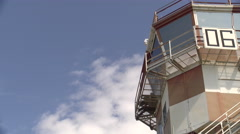 Detail of control tower at Rivolto airport, Italy Stock Footage