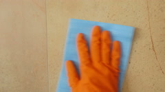 Hand wipe the cleaning towel. Stock Footage