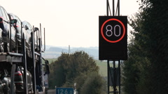 Construction site and speed limit zone on German highway Stock Footage