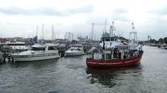 HanseSail event. tourist boats at Warnemuende Harbor Stock Footage