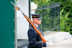 Ceremonial guard at the Tomb of the Unknown  at Arlington Nation Stock Photos