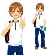 Handsome Student Teen Stock Illustration