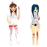 Mad Nurse and Demented Woman Stock Illustration