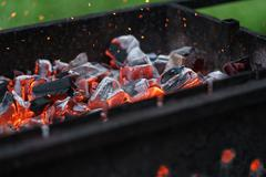 Charcoal preparing for making bbq in mangal Stock Photos