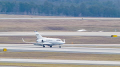 Private Generic Business Jet Landing at Washington Dulles Stock Footage