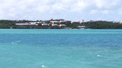Choppy sea in beautiful bay in Bermuda Stock Footage