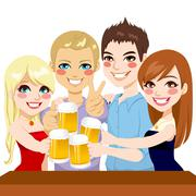 Young Friends Beer Toast Stock Illustration