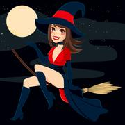 Sexy Brunette Witch Stock Illustration