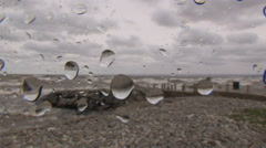 Epic severe waves crash the shore in hurricane and typhoon force storm Stock Footage