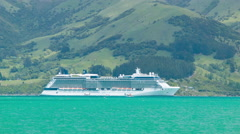 Celebrity Solstice Cruise Ship Anchored in Akaroa Harbour New Zealand Stock Footage