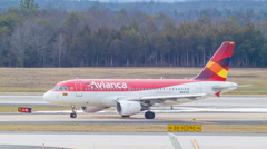 Avianca Airways A319 Taxiing at Washington Dulles Airport Stock Footage