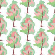 Abstract art tree seamless pattern Stock Illustration