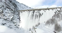 Wall Dam - Winter - Aerial view Stock Footage