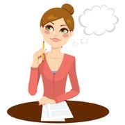 Beautiful Secretary Thinking Stock Illustration