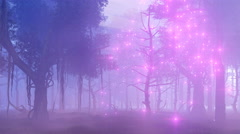 Fireflie lights in magical misty forest 4K Stock Footage