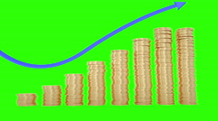 Gold coins stacking up in a column chart style. Green screen footage Stock Footage