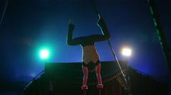 Glybokaya, Ukraine-March 2016. Circus performance male gymnast Stock Footage