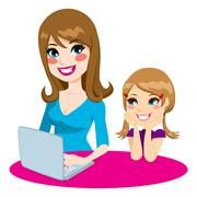 Mother Teaching Daughter Stock Illustration