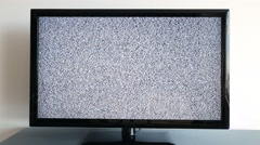 Noise on TV screen. Bars of analog TV static moving. Stock Footage