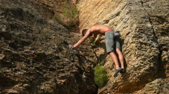 Climber Climbing Without Insurance Stock Footage