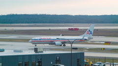 American Airlines Boeing 737 Taxiing at Washington Dulles Airport Stock Footage