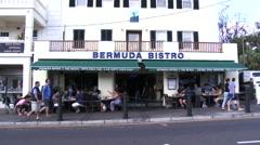 Establishing shot of small bistro in Hamilton, Bermuda Stock Footage