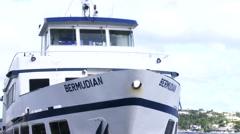 Bermudian ferry docked in Hamilton, Bermuda Stock Footage