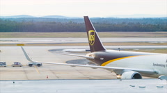UPS Cargo Air Freighter Boeing 767 at Washington Dulles Airport Stock Footage