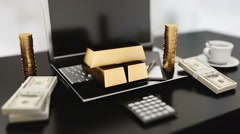 The workplace of business people. Gold bars. business concept. Stock Footage