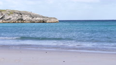 Empty beach with blue waters in Bermuda Stock Footage