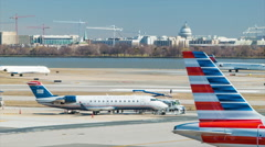 Reagan National Airport Traffic with US Capital Background Stock Footage