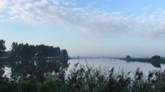 Morning landscape from the Lake called Geeuw in Sneek Stock Footage
